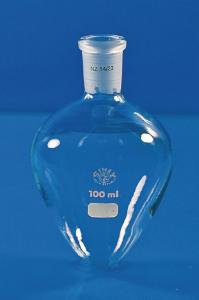 Flasks, pear- shaped, with standard ground joint glass stopper